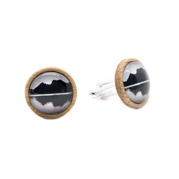 Cradle Mountain Eco Nature Cufflinks - Handmade in Tasmania, Australia - Environmentally Friendly - Bamboo & Silver Plated Brass