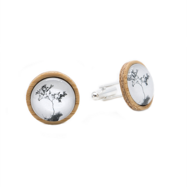 Myrtle Tree Eco Nature Cufflinks - Handmade in Tasmania, Australia - Environmentally Friendly - Bamboo & Silver Plated Brass