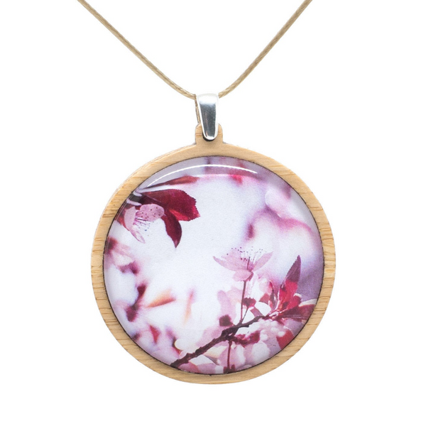Cherry Blossom Necklace - Sakura Pink Flower Pendant - Bamboo Jewelry - Adjustable Length Cord - Large Size