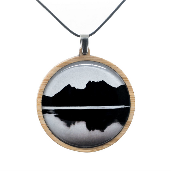Mountain Pendant - Adjustable Bamboo Necklace - Landscape Jewelry - Handmade in Tasmania, Australia - Large Size