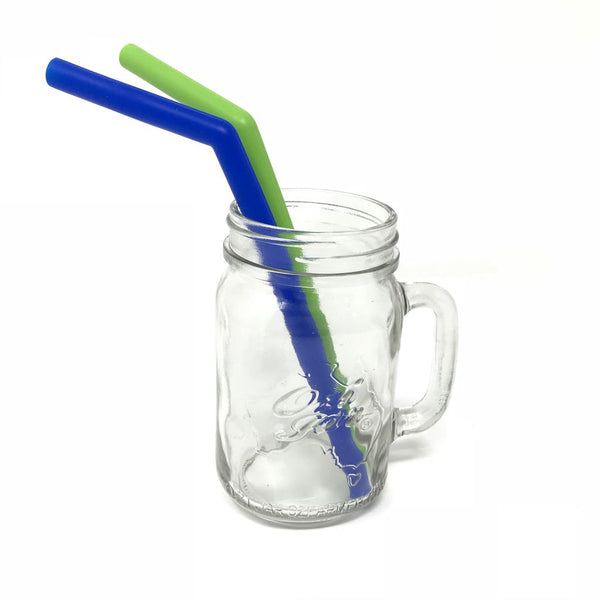 Little Mashies Reusable Soft Silicone Straws (Green and Blue)
