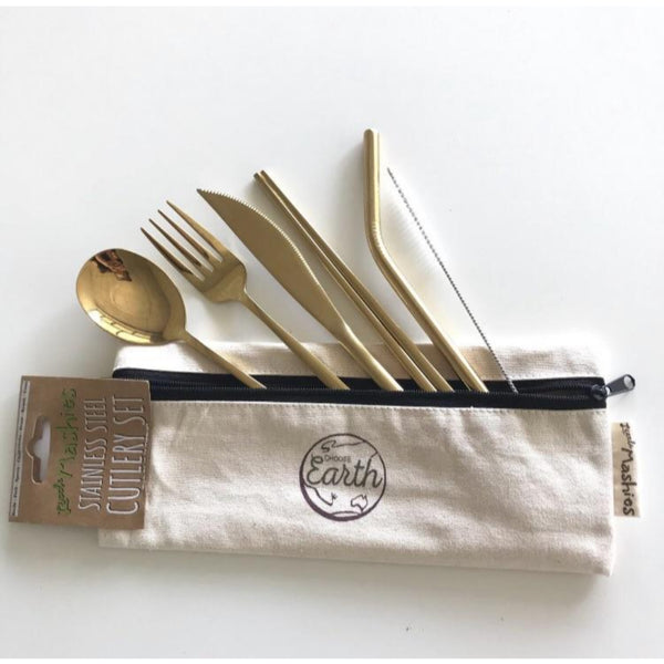 Little Mashies Stainless Steel & Organic Cotton Cutlery Set
