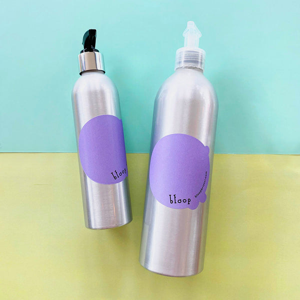 Aluminium refillable bottle with pump