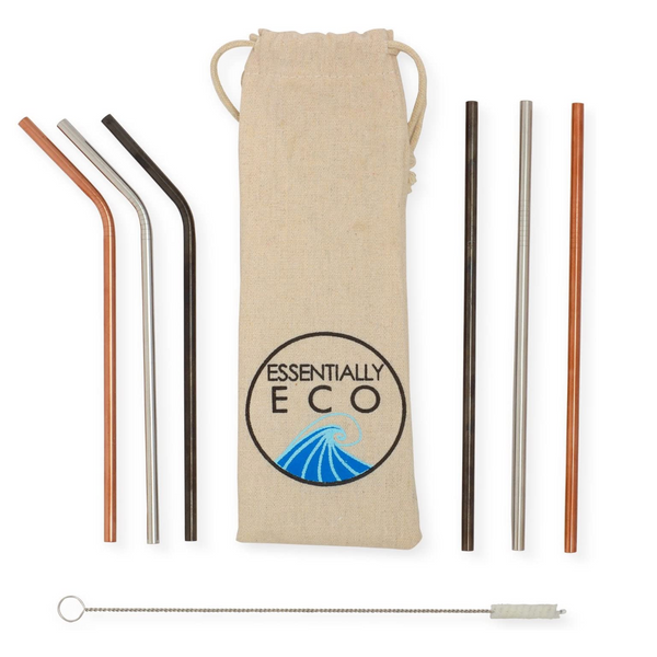 Metal straws with cleaner