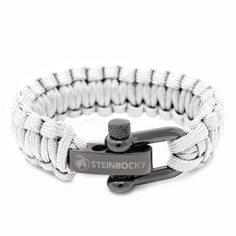 Steinbock7 Paracord Survival Armband, Weiss