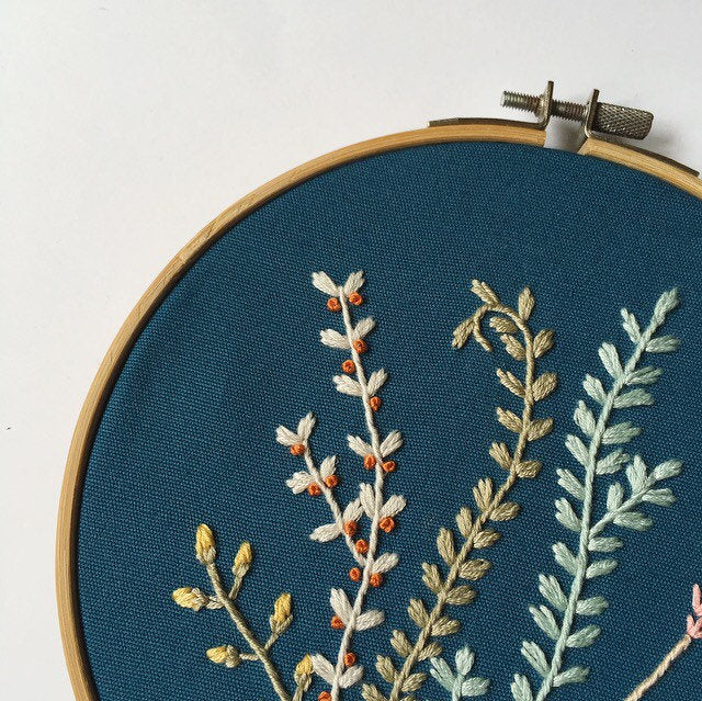 Blue Floral Embroidery Hoop Art Made To Order