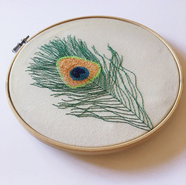 Peacock Feather Embroidery Hoop Art