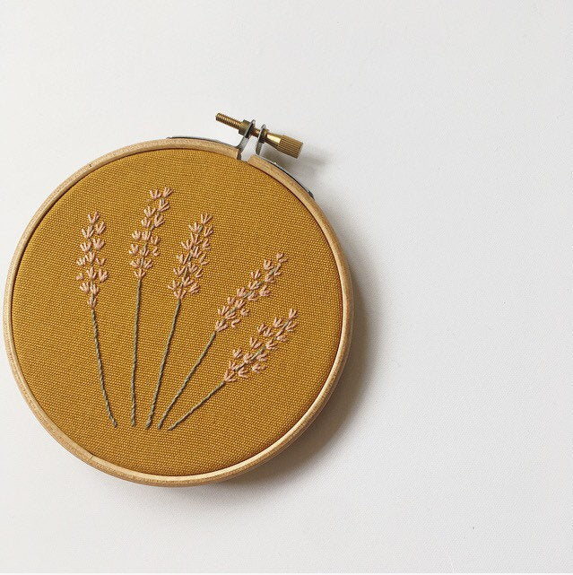 Lavender Embroidery Hoop Art On Mustard - Made To Order