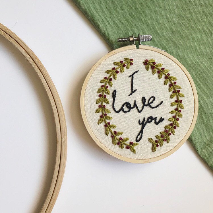 I Love You Wreath Embroidery Hoop Art Made To Order