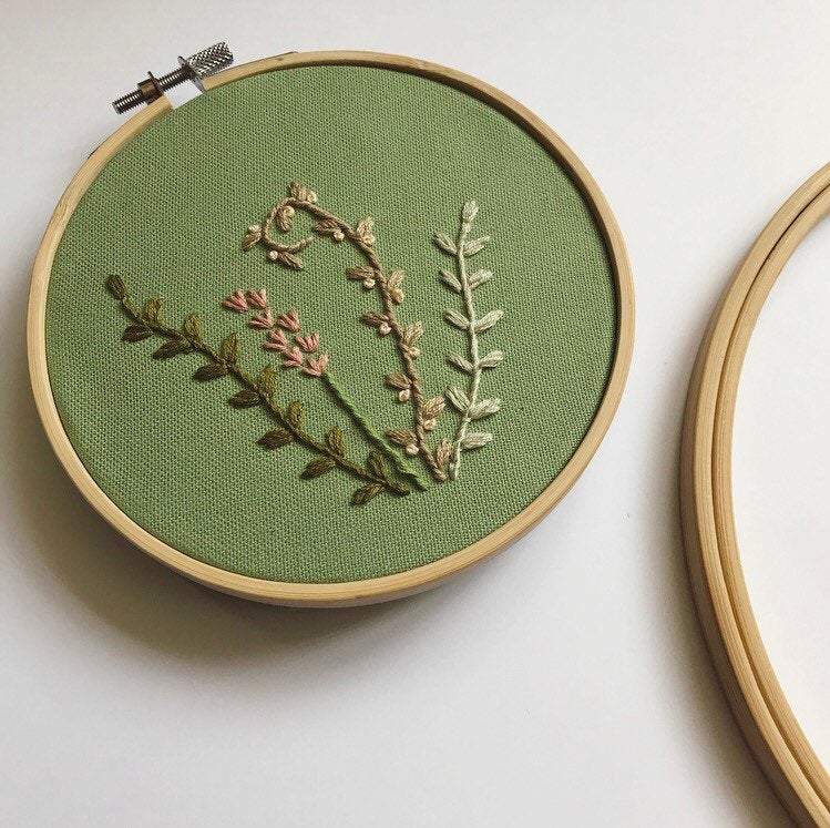 Spring Green Floral Hand Embroidery Hoop Art