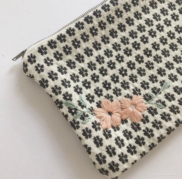Woven and Hand Embroidered Fabric Pouch