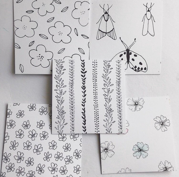 Set of 5 Colouring In Postcards With Pencils