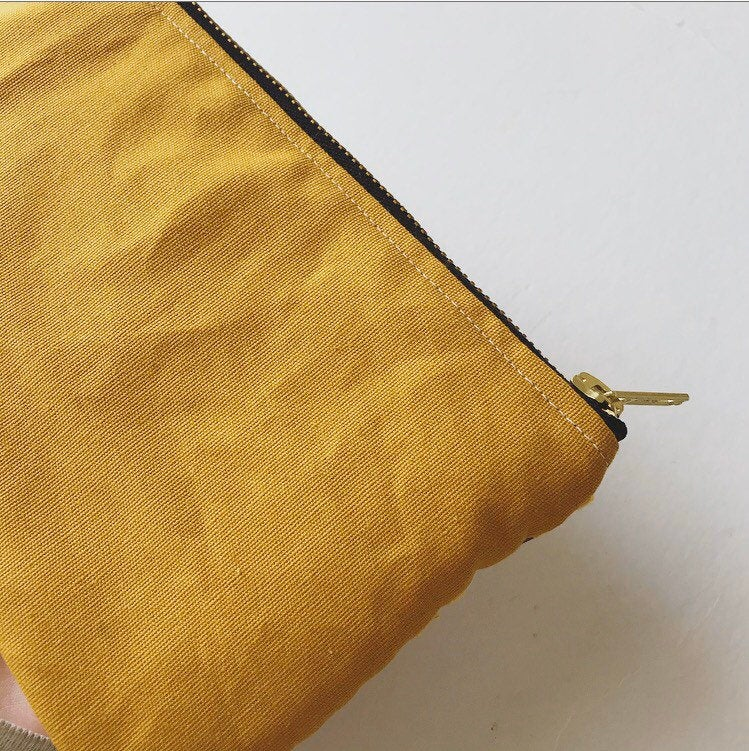 Upcycled Mustard Hand Woven Fabric Pouch
