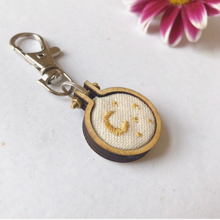 Hand Embroidered Moon And Stars Mini Embroidery Hoop Keychain