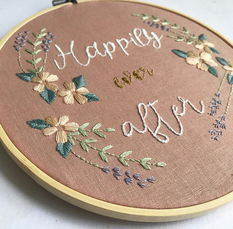 Fairytale Collection - Valentine's Happily Ever After Embroidery Hoop Art (8 inches)