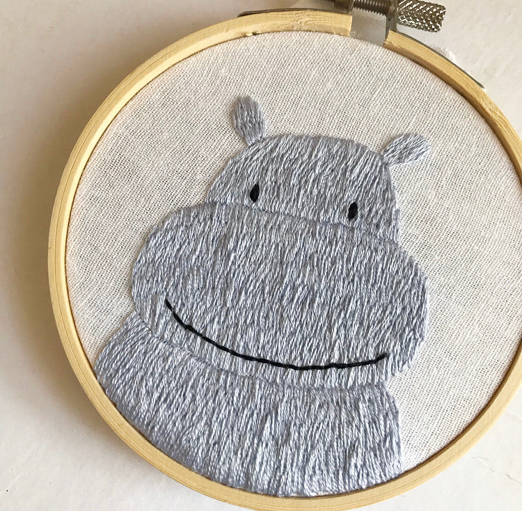 Hippo Embroidery Hoop Art (4 inches)