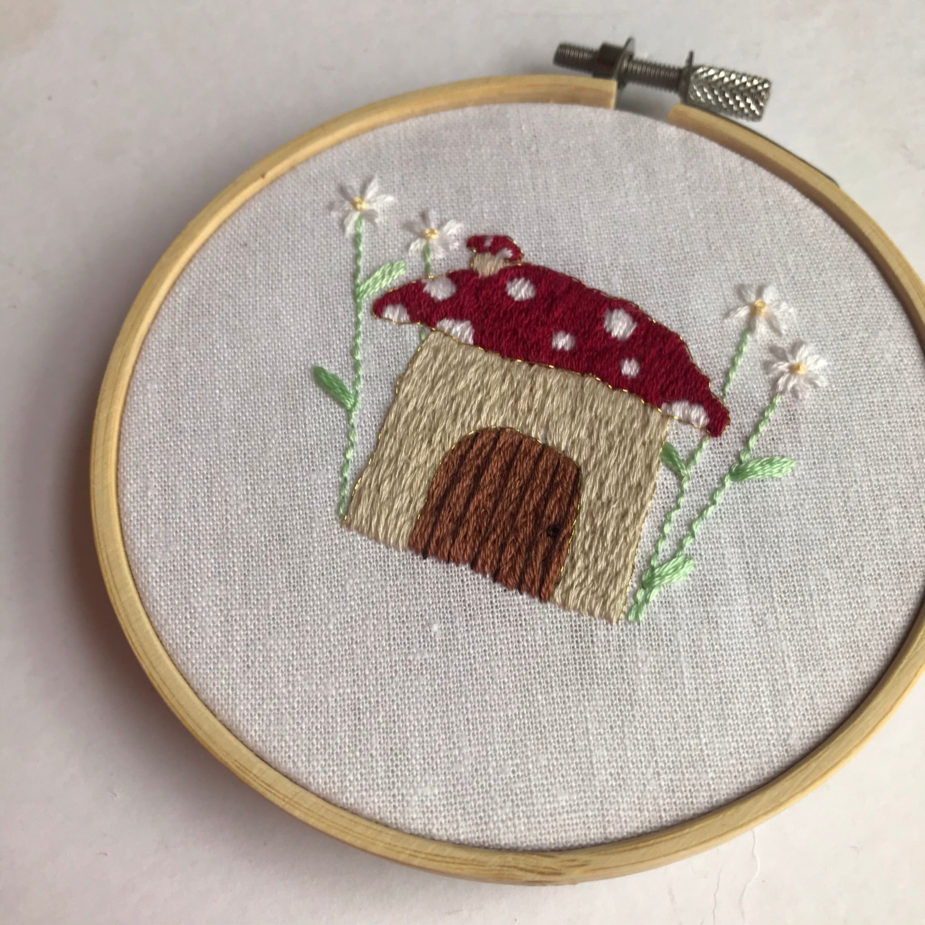 Fairytale Collection - Mushroom House Embroidery Hoop Art (4 inches) MADE TO ORDER