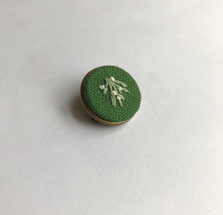Hand Embroidered Mistletoe Pin