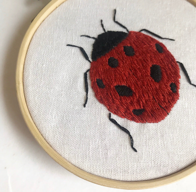 Ladybird Embroidery Hoop Art (4 Inches)