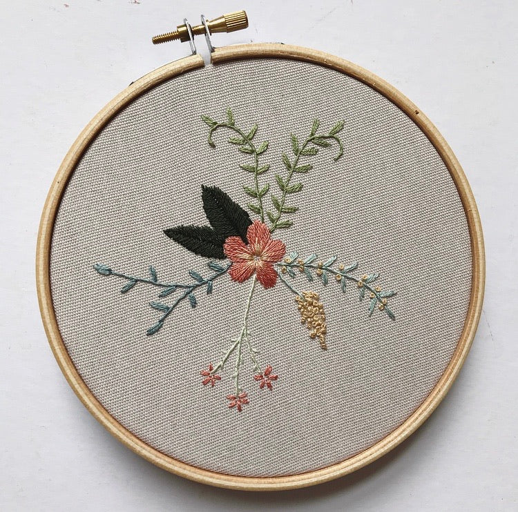 Grey Floral Beginner Embroidery Kit