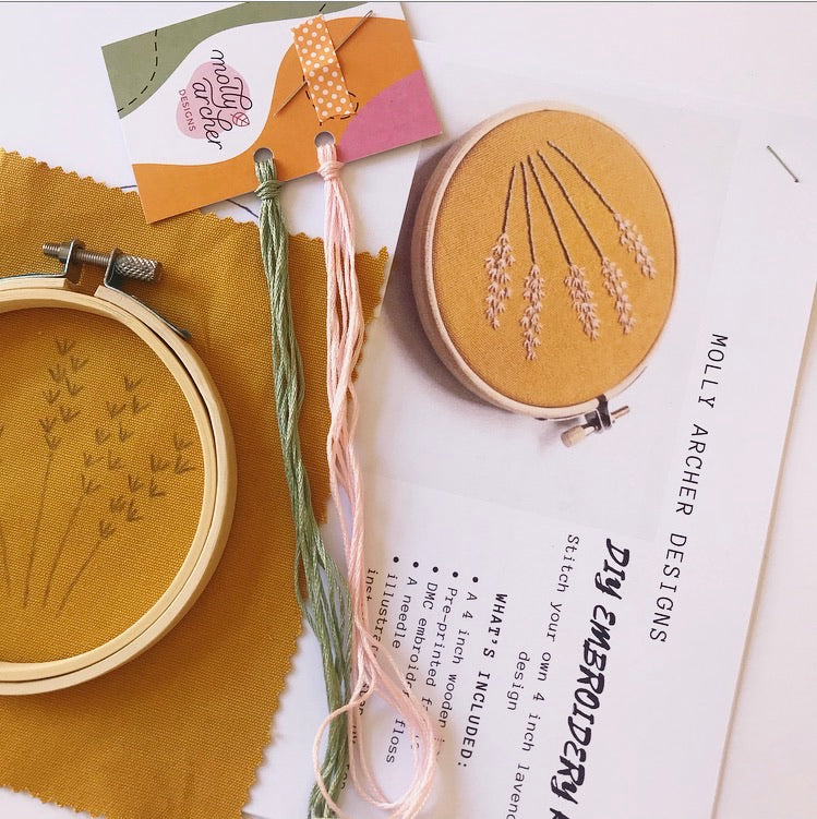 PRE-ORDER Beginner Lavender Embroidery Kit On Mustard