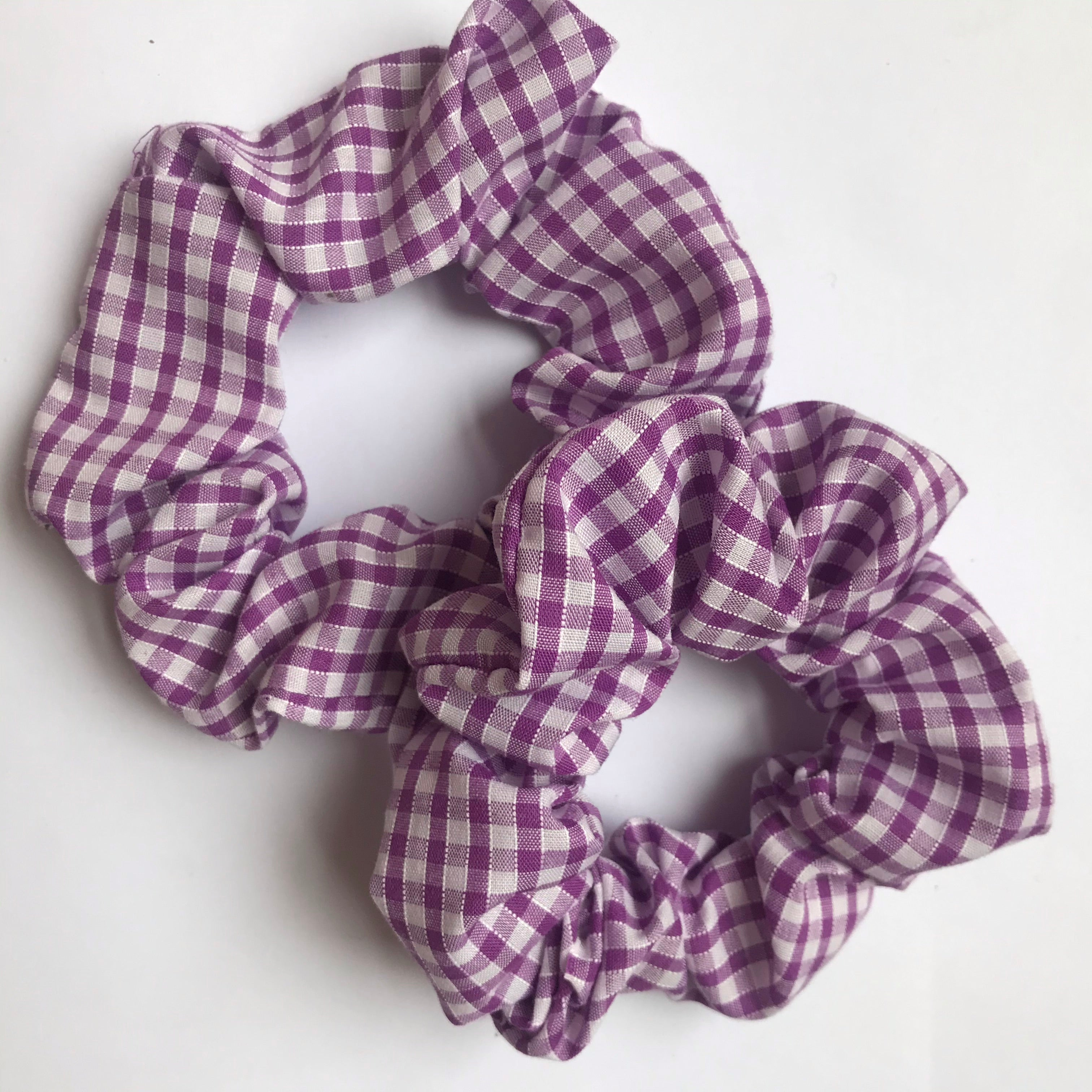 Lilac Gingham Hair Scrunchie