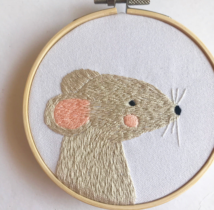 Grey Mouse Embroidery Hoop Art (4 Inches)