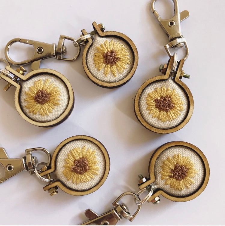 Hand Embroidered Sunflower Keychain