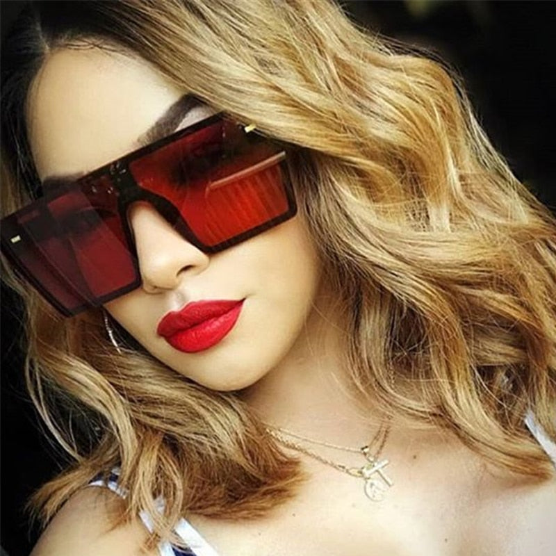 2020 New Women Oversized Square Sunglasses Flat Top Fashion One Piece Lens