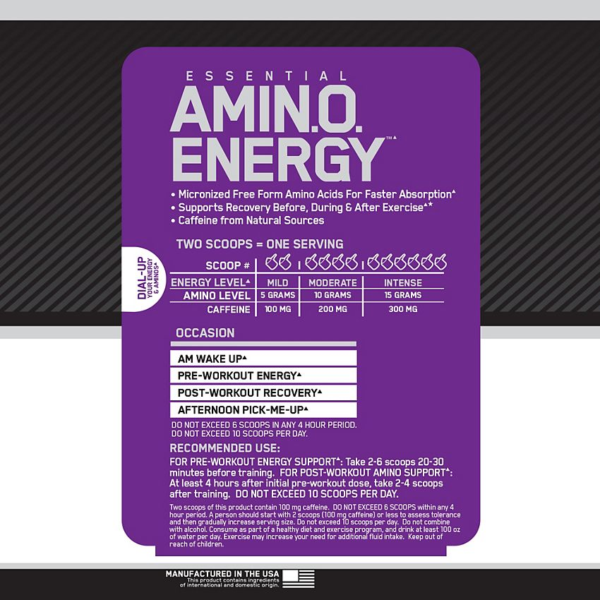 Essential Amino Energy Pre-Workout - Concord Grape (30 Servings)