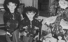 Jim Davis and his brother, Dave (Doc), on Christmas morning 1951.