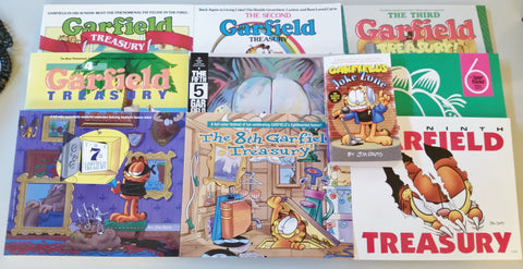 9 Garfield Treasury Books plus Free Joke Book