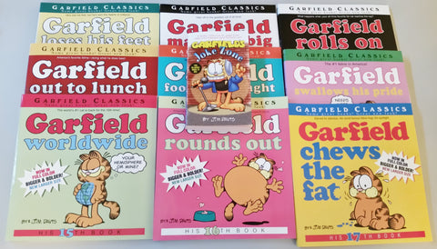 9 Garfield Classic Books plus Free Joke Book
