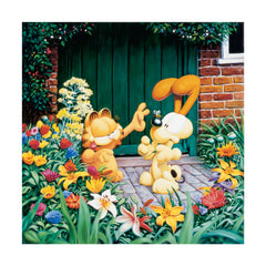 Garfield and Odie in the Garden - Giclee