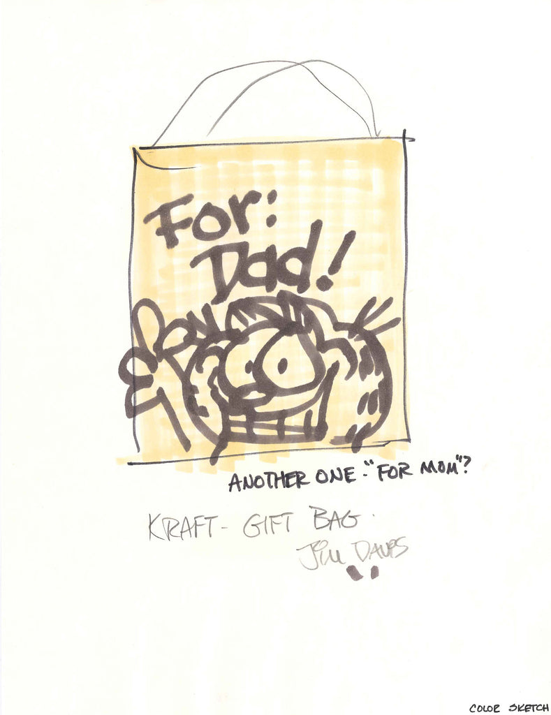 Sketch of a Father's Day gift bag idea featuring Garfield