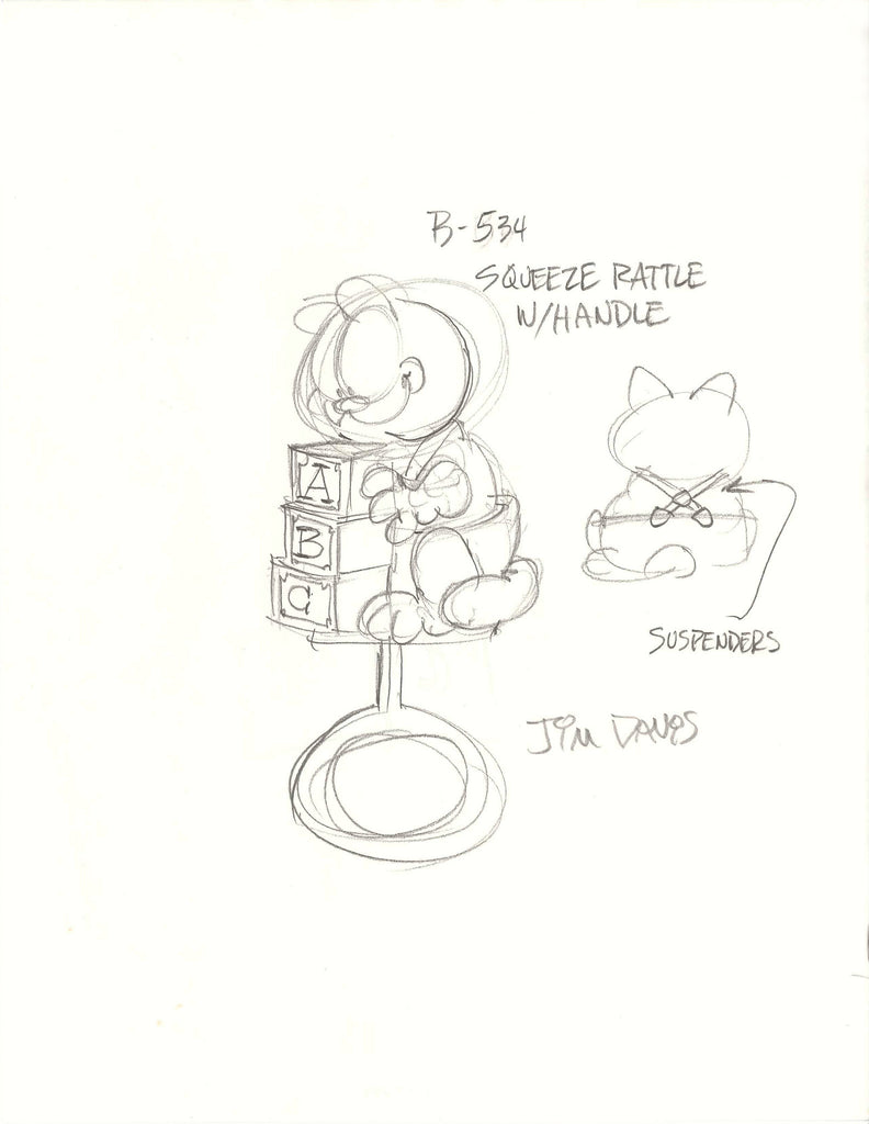 Sketch of a Garfield Baby Rattle