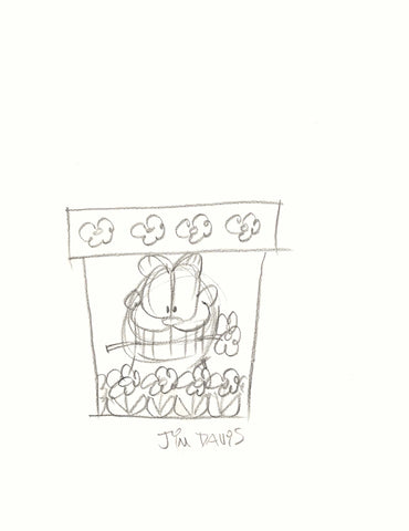 Garfield with Flower in His Mouth Flower Pot Sketch