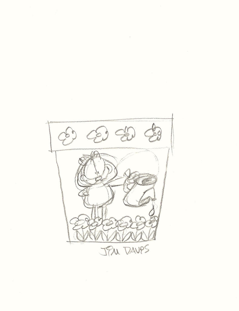 concept sketch of Garfield flower pot drawn by Jim Davis