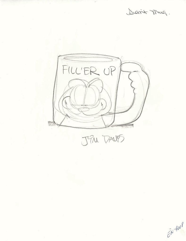 Concept sketch of a Garfield mug drawn by Jim Davis.