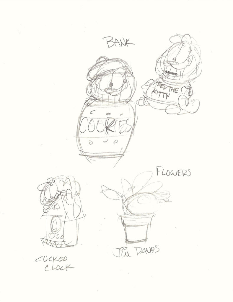 Concept sketch of coin banks drawn by Jim Davis.