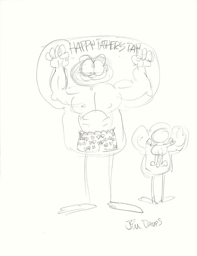 Sketch of a Father's Day Garfield balloon concept