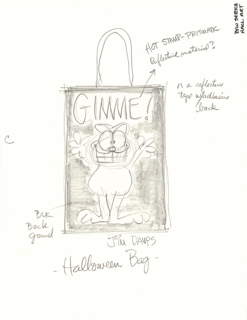 Sketch for a Garfield Halloween Trick-or-Treat bag