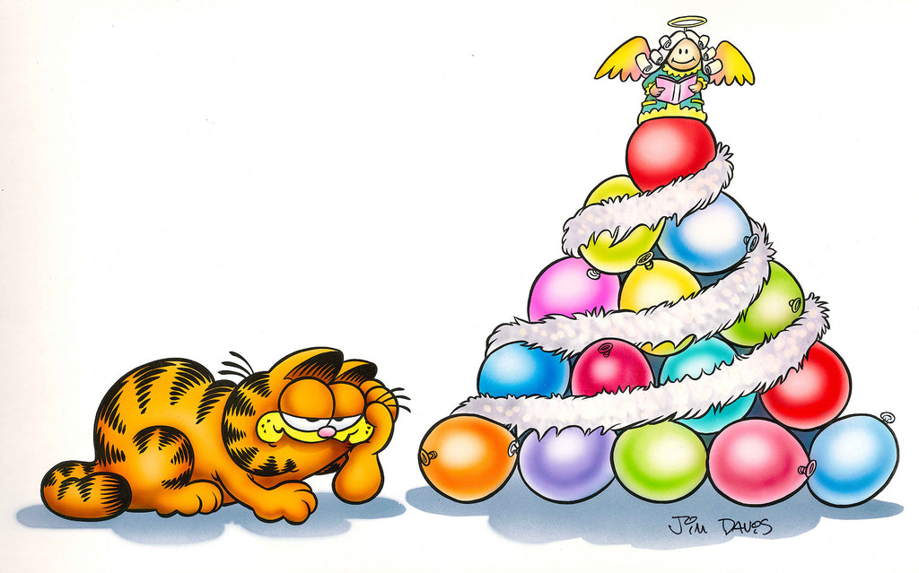 Airbrushed artwork from the 80's of Garfield and a Christmas tree made of balloons