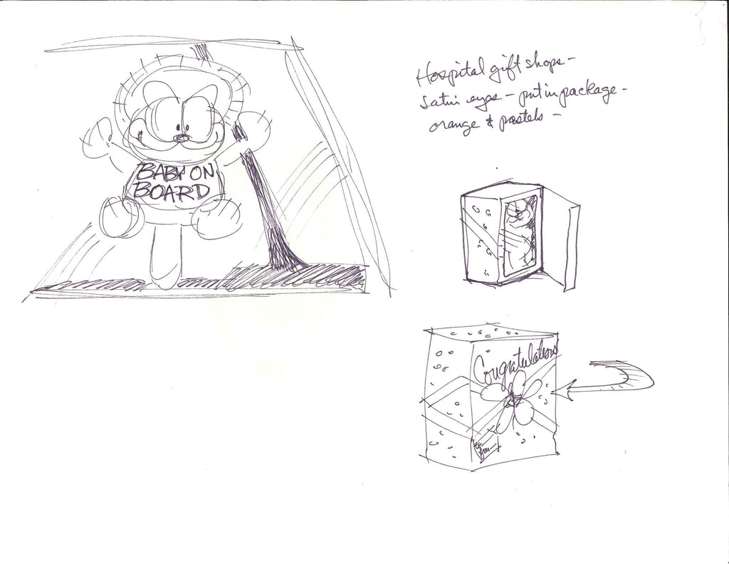 Sketch of Garfield. Baby on board.