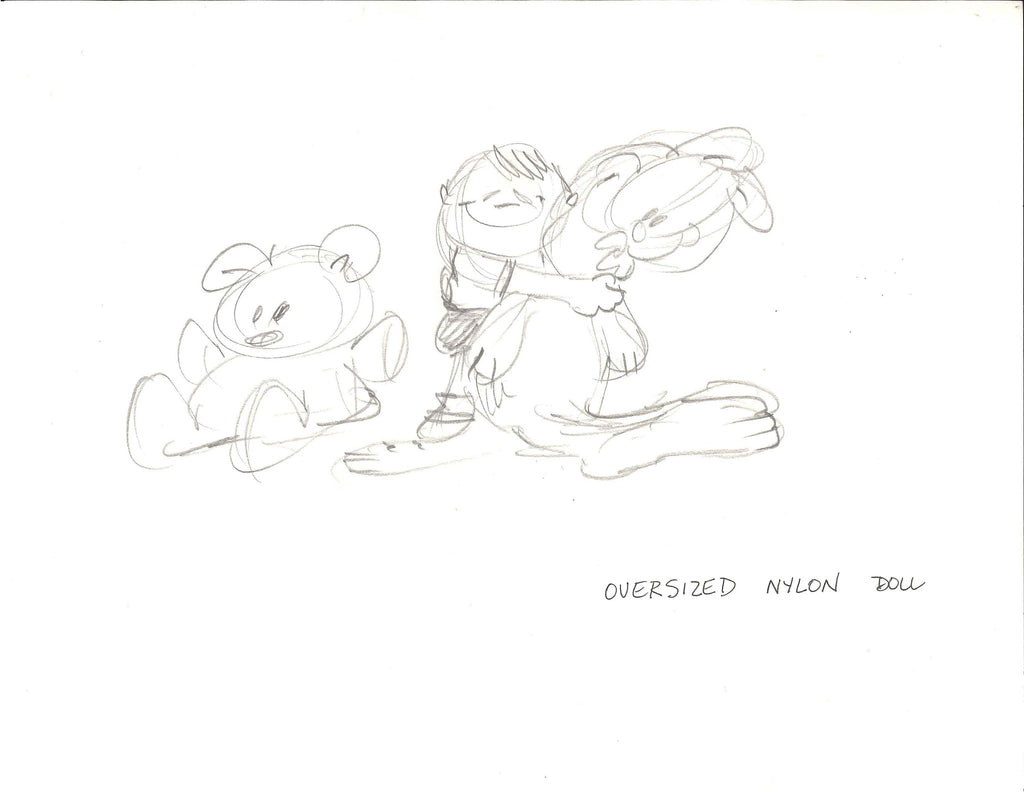 Sketch of Garfield with doll