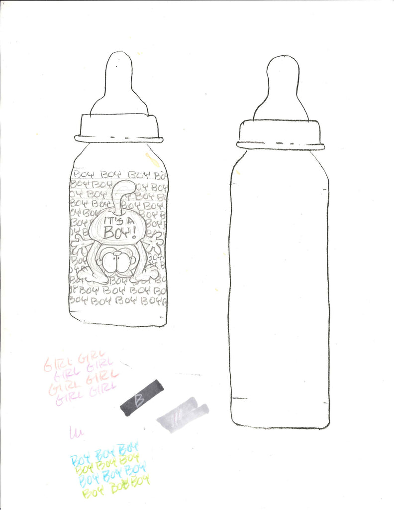 "Sketch of Garfield baby bottle. ""It's a boy"""