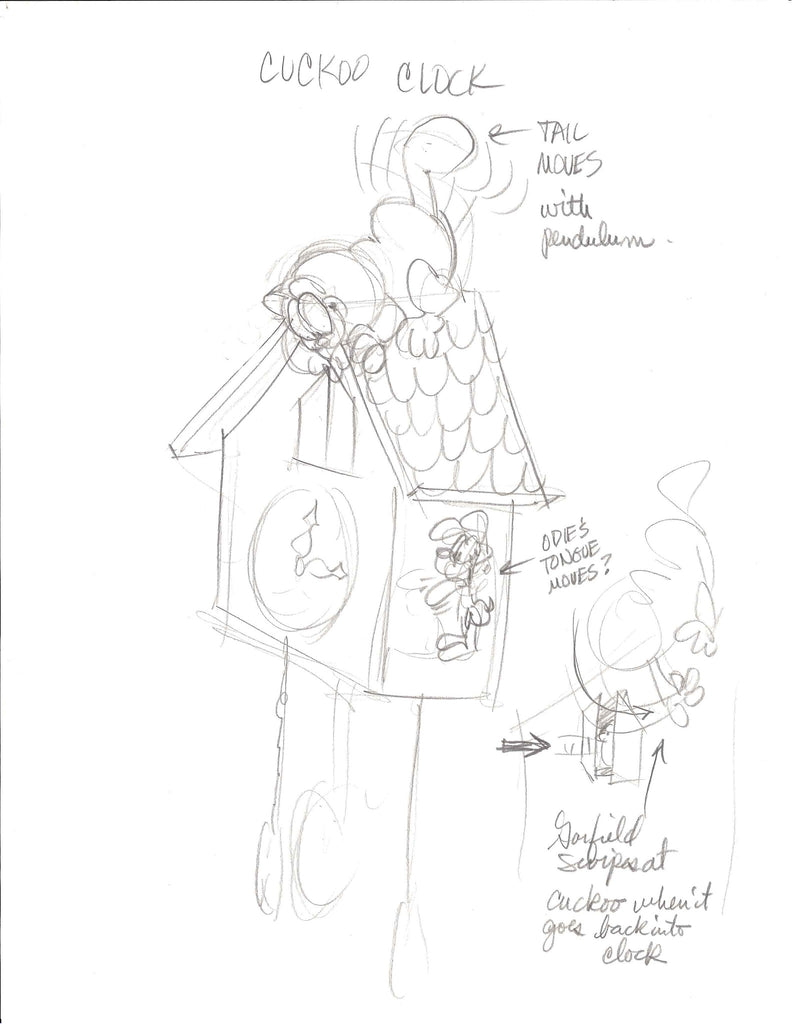 Sketch of Garfield Cuckoo Clock