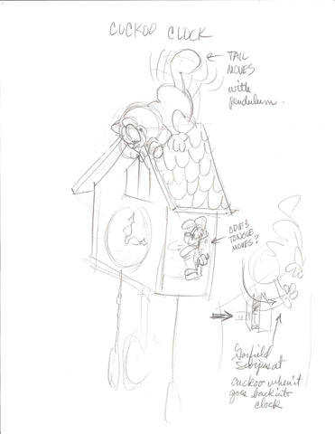 Sketch of Garfield cuckoo clock.