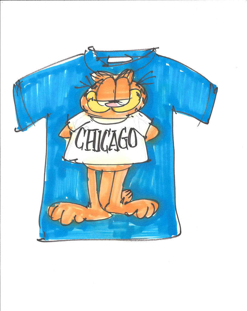 Sketch of Garfield Chicago t-shirt