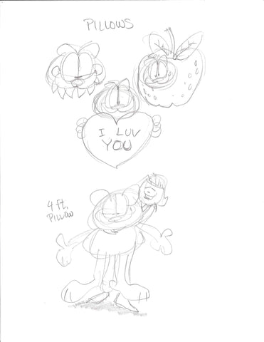 "Sketch of Garfield Pillow ""I Luv You"""